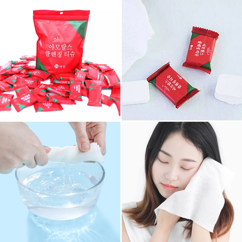 20pcs Compressed Portable Travel Face Towel Napkin Moistened Tissues - TUZZUT Qatar Online Store