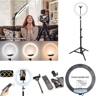 YQ-320 Ring Light 30cm with Stand,12 30W Dimmable LED Ring Light with Remote Control and Touch Key - TUZZUT Qatar Online Store