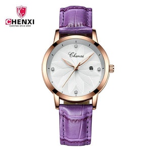 Chenxi Fashion Designer Ladies Luxury Leather Strap Watches CX-303L - Blue Gold - TUZZUT Qatar Online Store