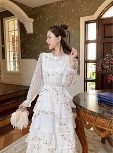 Women's Long-Sleeve Floral Embroidery Elegant Party Maxi Dress - TUZZUT Qatar Online Store