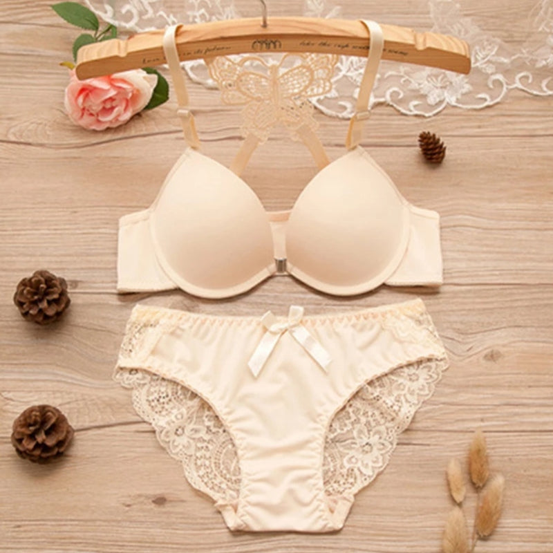Beautiful Butterfly Bridal Wired Lingerie Beige - TUZZUT Qatar Online Store
