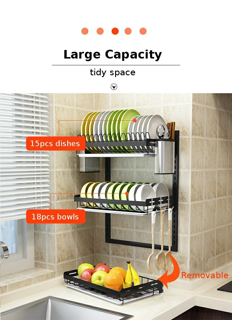 Wall Mount 3 tier Stainless Steel Kitchen Dish Rack Organizer - TUZZUT Qatar Online Store
