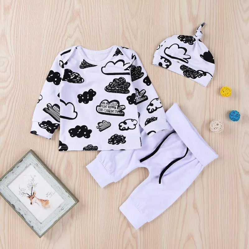 3-piece Cloud Printed Sweatshirt & Pants & Hat for Baby Boy - TUZZUT Qatar Online Store