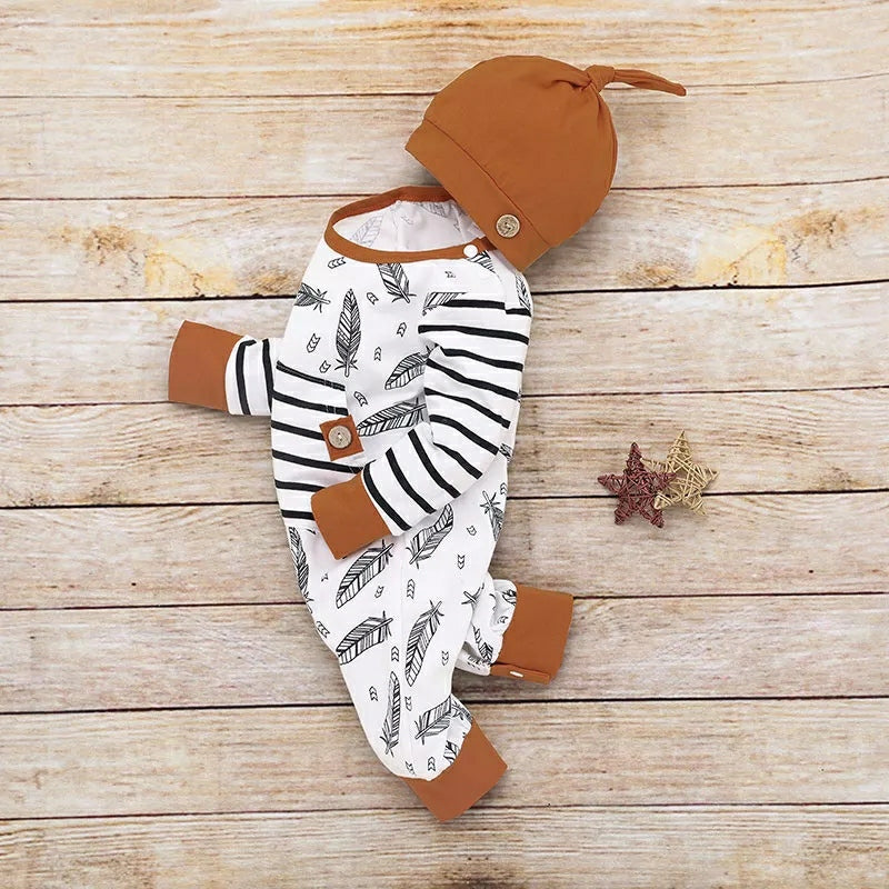 2-Piece Feather Print Hooded Bodysuit and Hat - TUZZUT Qatar Online Store