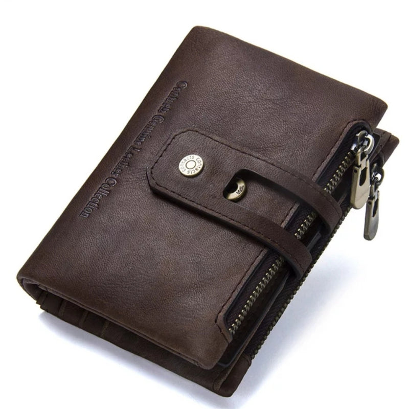 Genuine Leather Bifold vertical wallet with zip pocket for men - Model