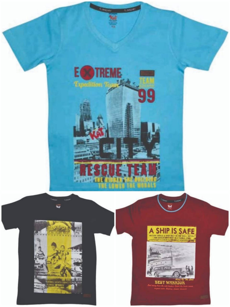 Boys Round neck T-shirt pack of 3 - TUZZUT Qatar Online Store