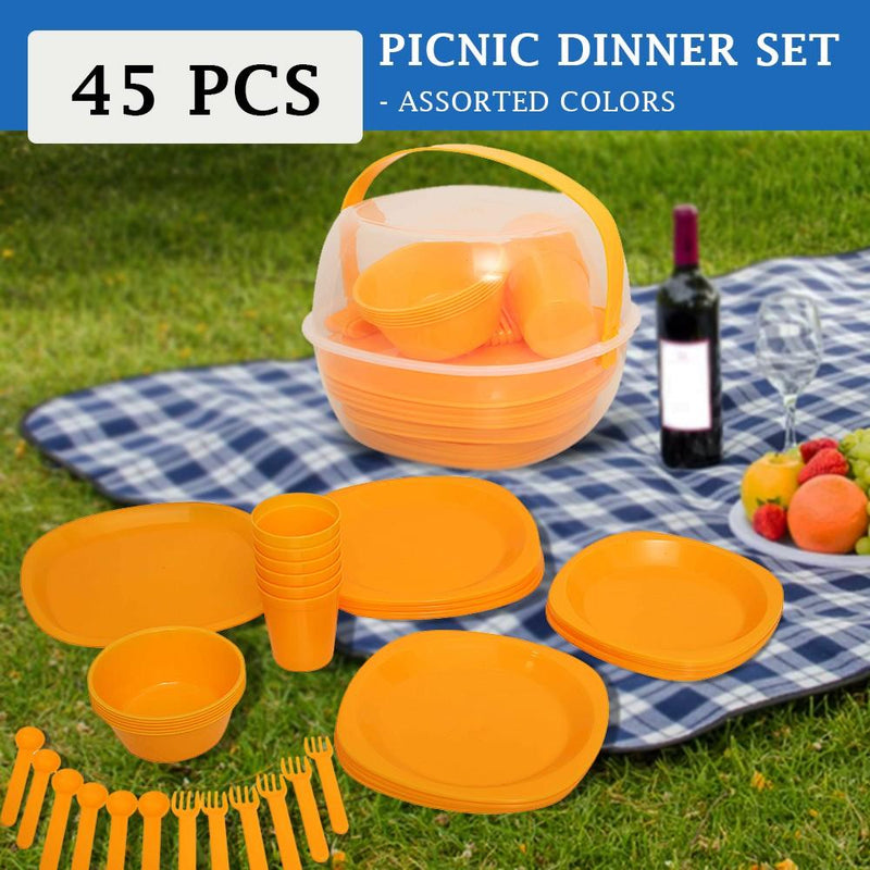 45Pcs Leisure Picnic Dinner Set - Assorted Colors - TUZZUT Qatar Online Store