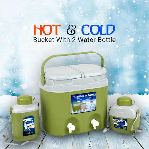 10L Hot & Cold Bucket With 2 Water Bottle