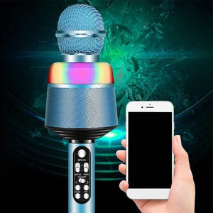 Q008 Portable Bluetooth Karaoke Wireless Microphone with Flashing Lights