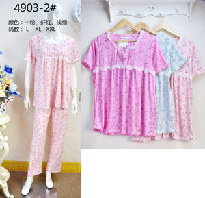 3 Pairs Super Quality Cotton Pyjama Set for Women 4903-2 (Assorted Colors) - TUZZUT Qatar Online Store