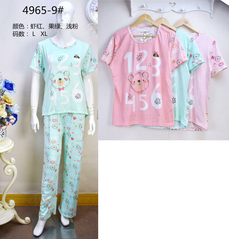 3 Pairs Super Quality Cotton Pyjama Set for Women 4965-9 (Assorted Colors) - TUZZUT Qatar Online Store