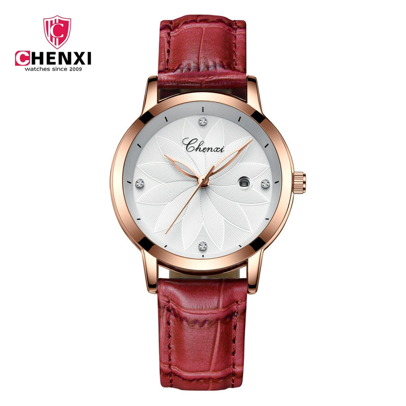 Chenxi Fashion Designer Ladies Luxury Leather Strap Watches CX-303L - Red Gold - TUZZUT Qatar Online Store