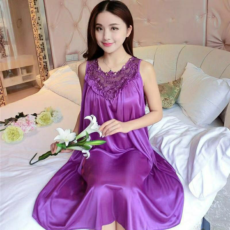 Women's Night Dress Sleepwear Z79 - Violet - TUZZUT Qatar Online Store