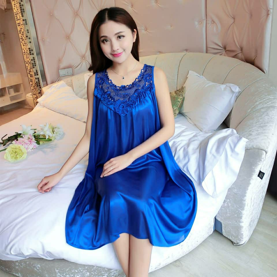 Women's Night Dress Sleepwear Z79 - Blue - TUZZUT Qatar Online Store