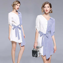 Load image into Gallery viewer, Women's Summer Fashion Party Elegant Stitching Striped Irregular Shirt Bow Tie Loose  Dresses - TUZZUT Qatar Online Store