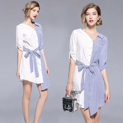 Women's Summer Fashion Party Elegant Stitching Striped Irregular Shirt Bow Tie Loose  Dresses - TUZZUT Qatar Online Store