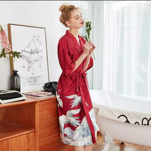 Women's Fashion Kimono Robe Summer Nightgown Rayon Bathgown Sleepwear - TUZZUT Qatar Online Store