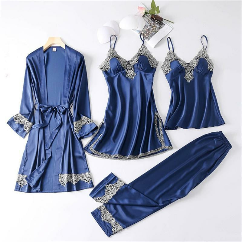 4 Pcs Satin Sleepwear Lady Nightgown Suit - TUZZUT Qatar Online Store