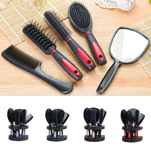 5 Pcs Salon Hair Comb Brush Mirror Set - TUZZUT Qatar Online Store
