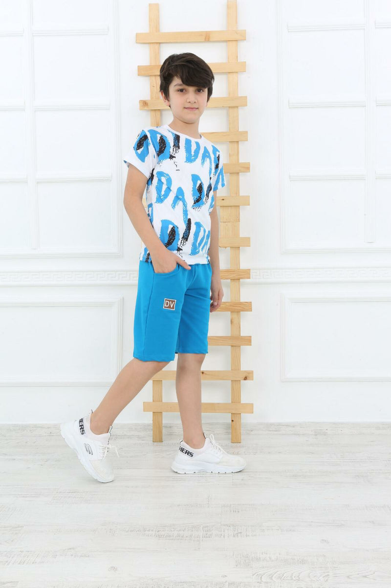 Casual DV T-Shirt Shorts for Boys Set-2 Pcs Set - Blue TK8810 - TUZZUT Qatar Online Store