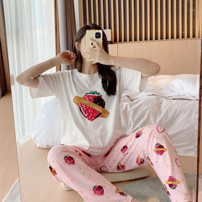 Cute Strawberry Loose Short Sleeve Casual Homewear Pajamas - 3020 - TUZZUT Qatar Online Store
