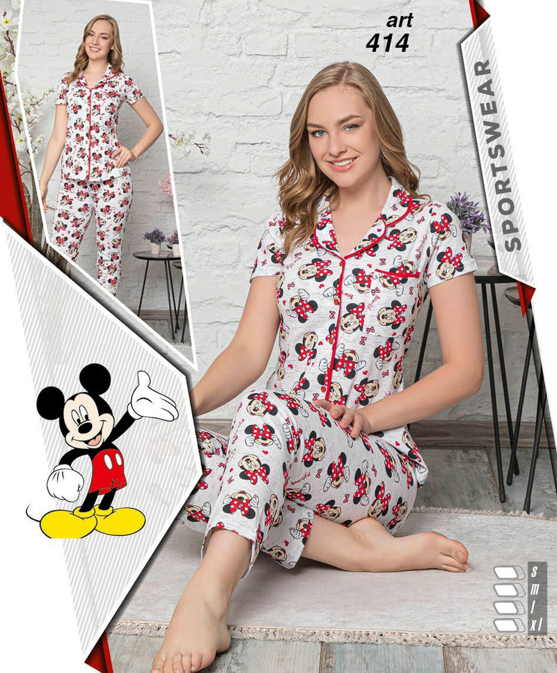 Women's Micky Mouse Night Suit/ Pyjama set Red - 414 - TUZZUT Qatar Online Store