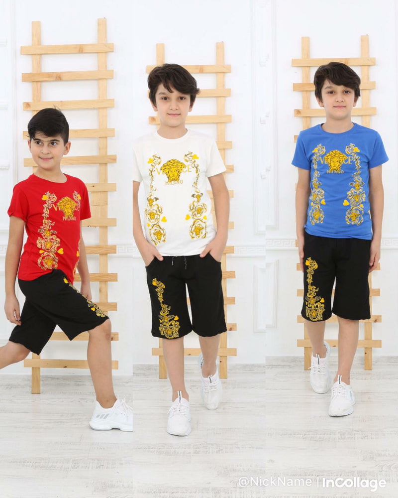 Casual T-Shirt Shorts Versace for Boys Set - White TK6610 - TUZZUT Qatar Online Store