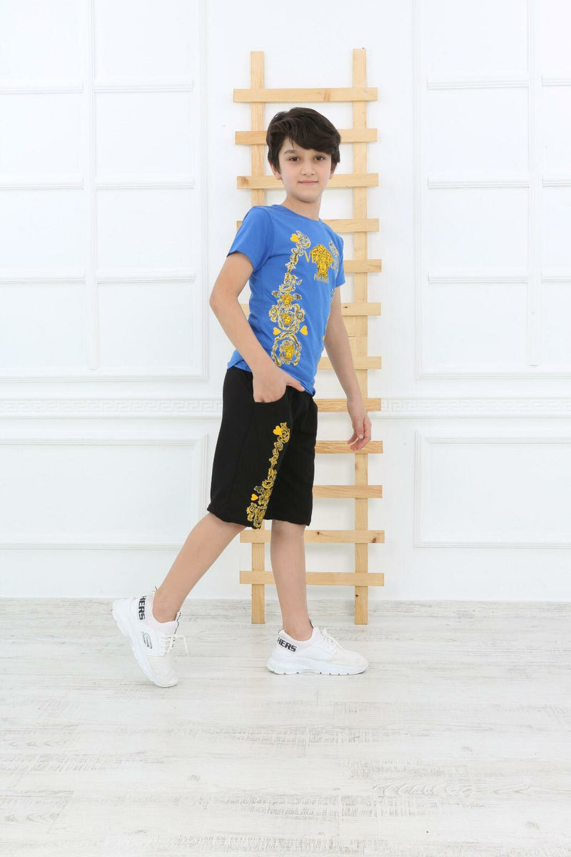 Casual T-Shirt Shorts Versace for Boys Set - Blue TK6620 - TUZZUT Qatar Online Store