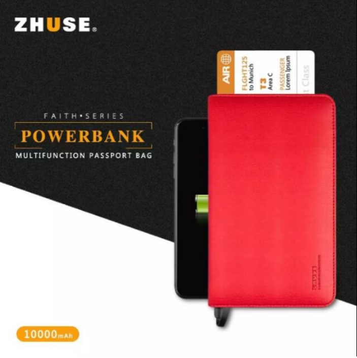 2-in-1 ZHUSE Universal Leather Wallet with 10000mAh Power Bank
