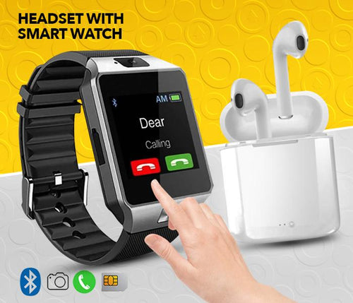 Bundle of Twin Bluetooth Headset with Power Bank and Smart Watch - Assorted - TUZZUT Qatar Online Store