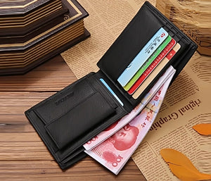 JINBAOLAI CW-8041 Short Bifold Genuine Leather Men Luxury Wallet With Coin Pocket Purse -BLACK