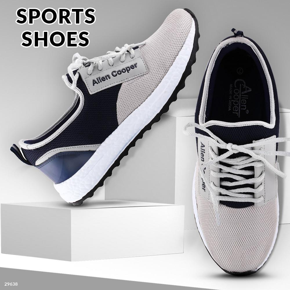 Allen Cooper Sports Shoes - Light Grey & Navy