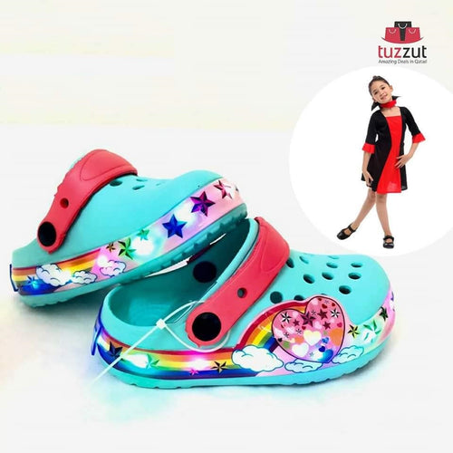Kids Beach Outdoor Cartoon LED Light Sandals Slippers for Girls - Blue - TUZZUT Qatar Online Store