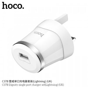 Hoco C37B Dignity Single Port Lightning Charger Set 5V/2.4A - TUZZUT Qatar Online Store