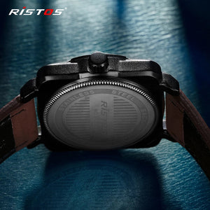 RISTOS Men Quartz Watches Military Genuine Leather Sports Watch Reloj Masculino Business Wrist watch Relogio Hombre Unique 9320