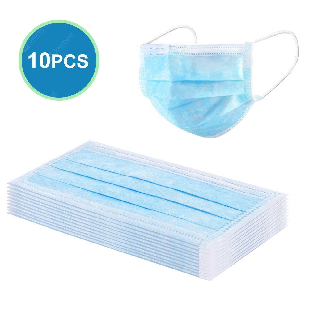 10 Pcs Disposable Face Masks- 3-Ply Breathable & Comfortable Filter - TUZZUT Qatar Online Store