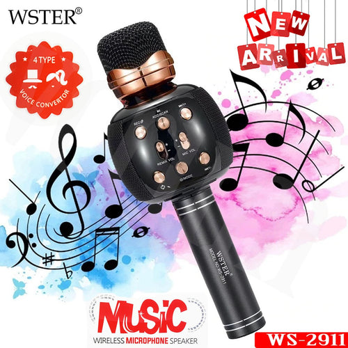 WSTER WS-2911 Portable Bluetooth Speaker Microphone - 4 Voice Change Song Record - TUZZUT Qatar Online Store