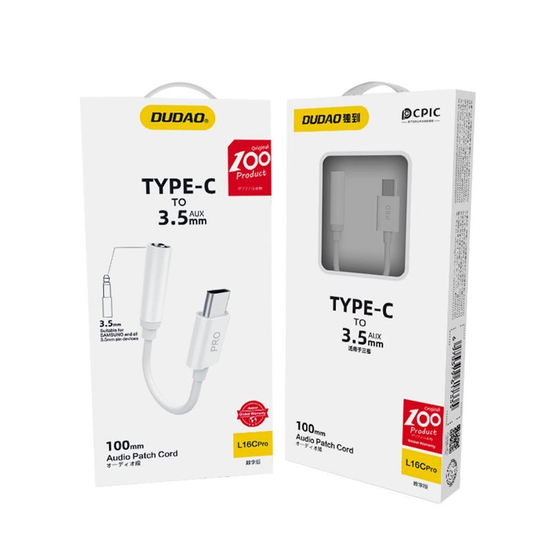 Dudao Converter Adapter from USB Type C to headphones jack 3,5 mm (female) white (L16CPro white) - TUZZUT Qatar Online Store