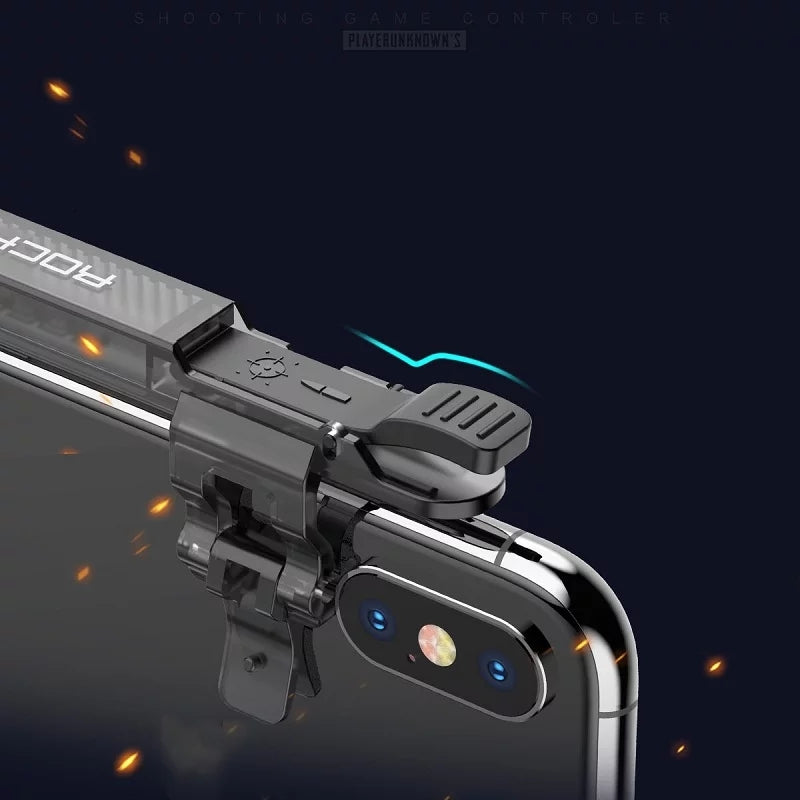 ROCK Phone Game Joystick for Pubg Mobile Four Finger Free Fire Aim Button Trigger Game Controller for pubg L1 R1 Shooter Game - TUZZUT Qatar Online Store