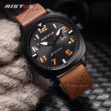Load image into Gallery viewer, Fashion Ristos Brand Men Quartz Analog Watch Army Style Leather Watches Reloj Masculino Hombre Man Sport Military Design 9351 - TUZZUT Qatar Online Store
