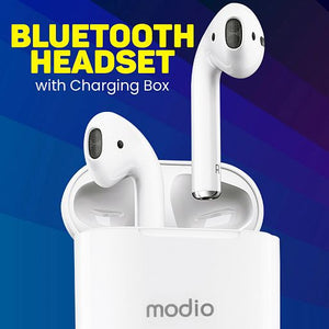 Modio ME1 Wireless Stereo Touch Sensor TWS Wireless Bluetooth Headset with Charging Box, White - TUZZUT Qatar Online Store