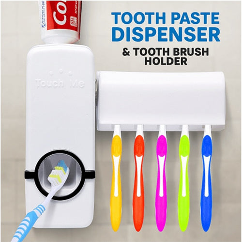 Tooth Brush Holder with Automatic Toothpaste Dispenser - TUZZUT Qatar Online Store