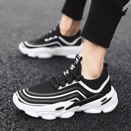 Trending Fashion Breathable Non-slip Tennis Sneakers Men Shoes - Model 9920 (Black-White) - TUZZUT Qatar Online Store