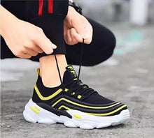 Load image into Gallery viewer, Trending Fashion Breathable Non-slip Tennis Sneakers Men Shoes - Model 9920 (Black-Yellow)
