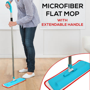Microfiber Flat Mop Floor Dust Mop Kit with Stainless Steel Extendable Handle - TUZZUT Qatar Online Store