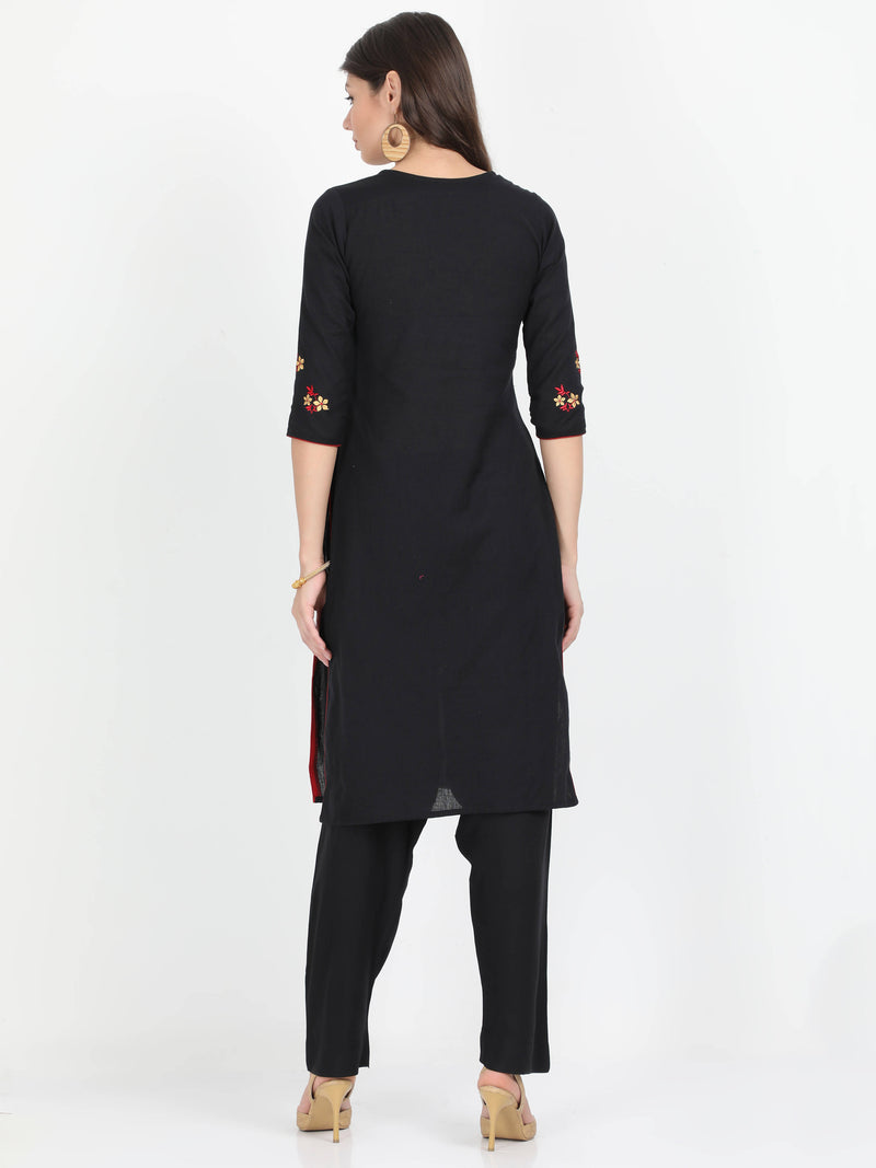 Women Black cotton embroidered kurta with Rayon Black Pant - TUZZUT Qatar Online Store