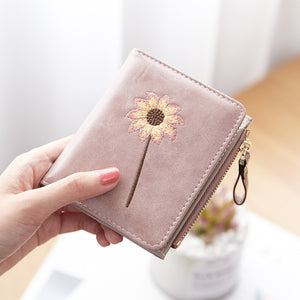 Fashion Women Short Embroidery Japanese Style Photo Holder Cards Wallet -  OLF-24134