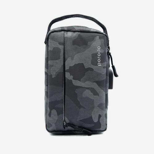 "Porodo Convenient Leather Storage Bag 8.2"" Black Camo - IPX3 Water-Resistant - TUZZUT Qatar Online Store"