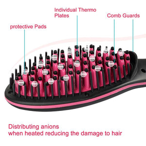 2 in 1 Hair Straightening Brush Ceramic and Hair Curler - TUZZUT Qatar Online Store