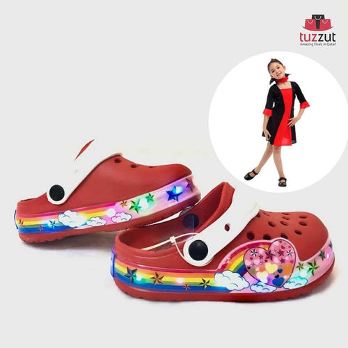 Kids Beach Outdoor Cartoon LED Light Sandals Slippers for Girls - Red
